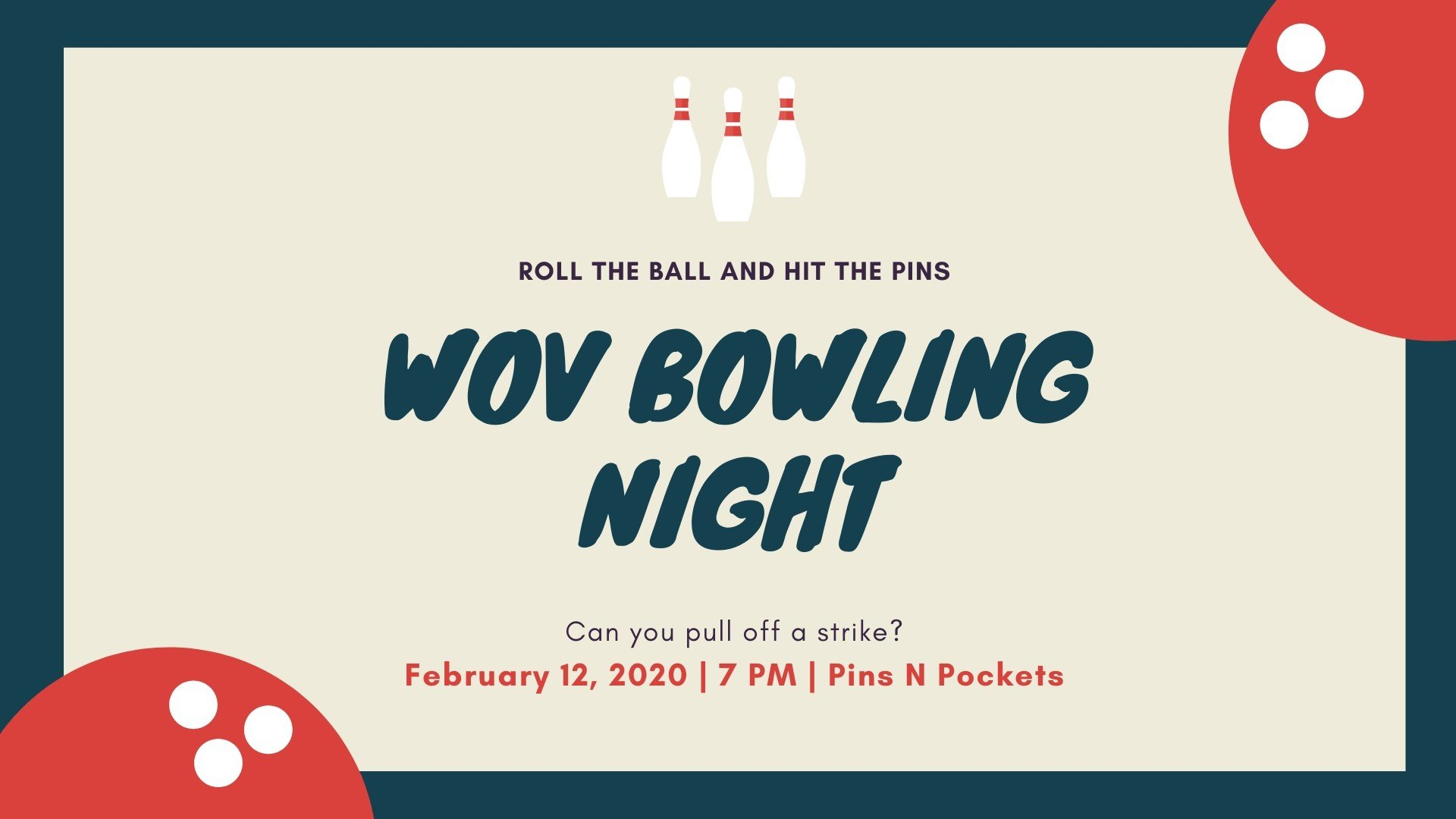 Copy of Red Bowling Ball and Pins Bowling Invitation